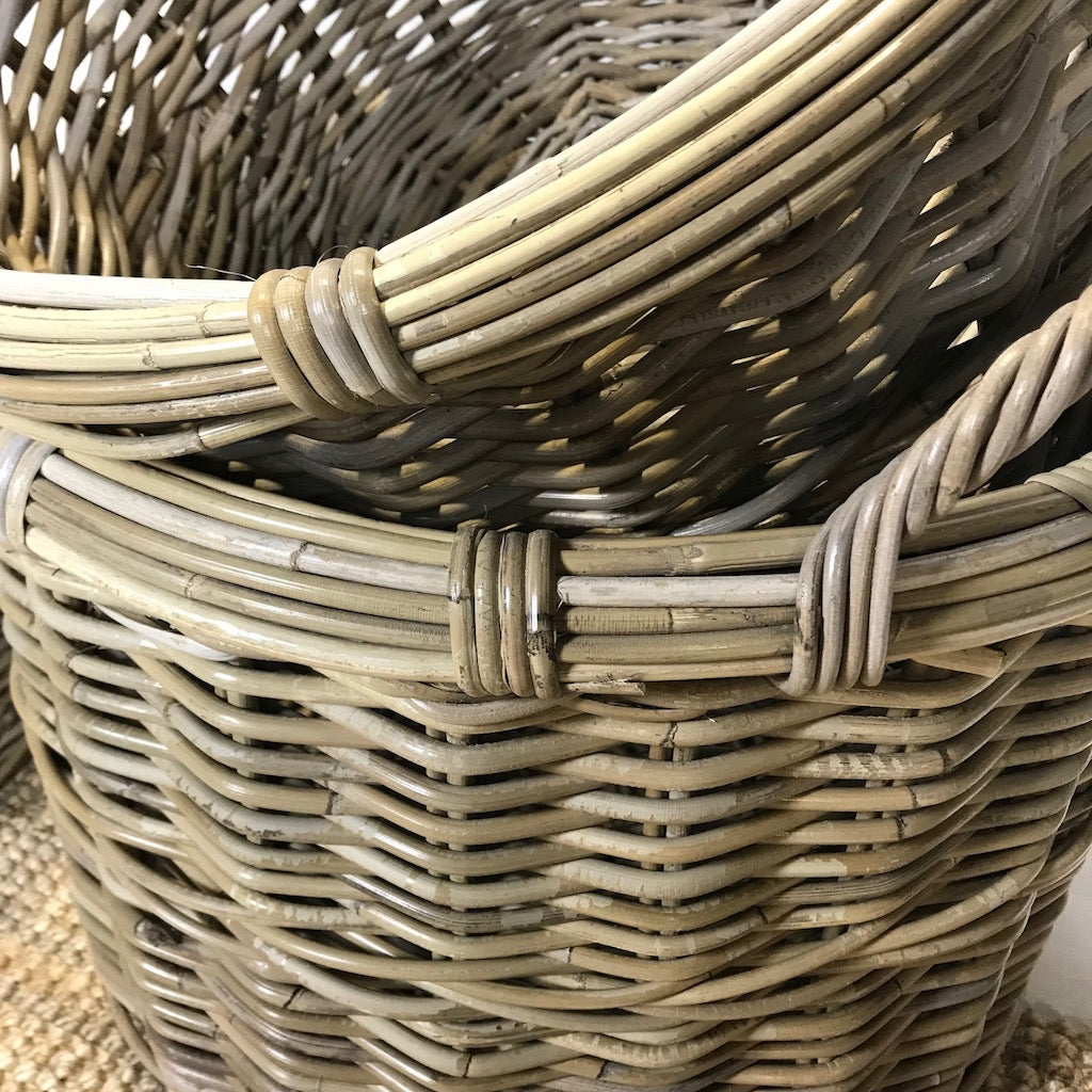 Flat Round Baskets with Ear Handles Set of 3