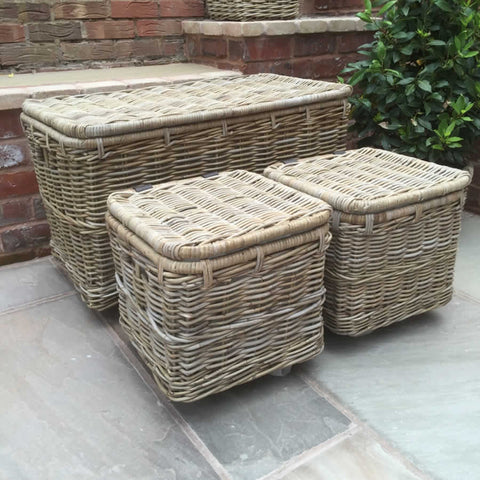 Large Wicker Hamper Baskets with Lid on Wheels and Smaller Twin Baskets