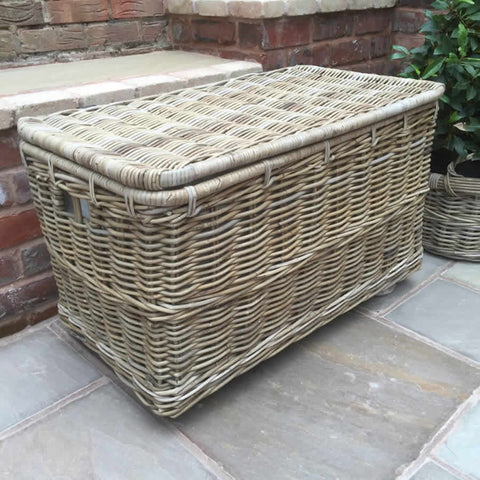 Large Wicker Hamper Baskets with Lid on Wheels and Smaller Twin