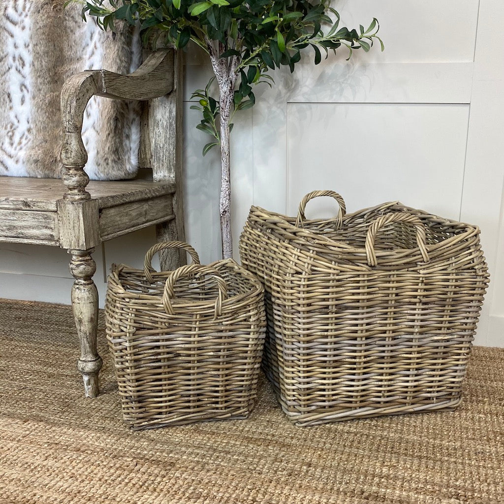Wicker Log Kindling Baskets Set 2