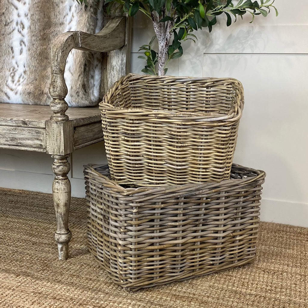 Wicker Rectangle Utility Log Toy Baskets Set 2
