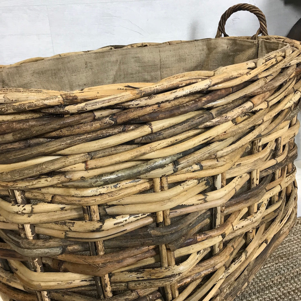 Large Oval Wicker Log Toy Basket Wheels Hessian Liner Ear Handles