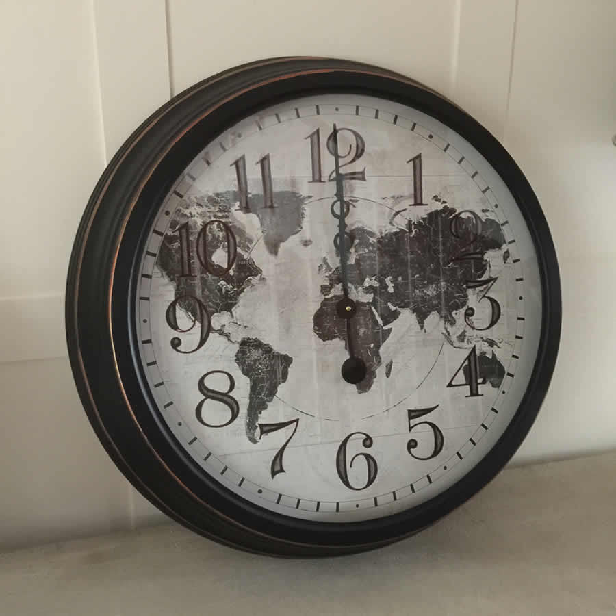 Round distressed world map metal wall clock english electric clock round distressed world map metal wall clock english electric clock company gumiabroncs Gallery