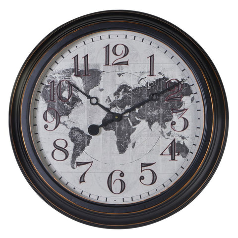 Round Distressed World Map Metal Wall Clock