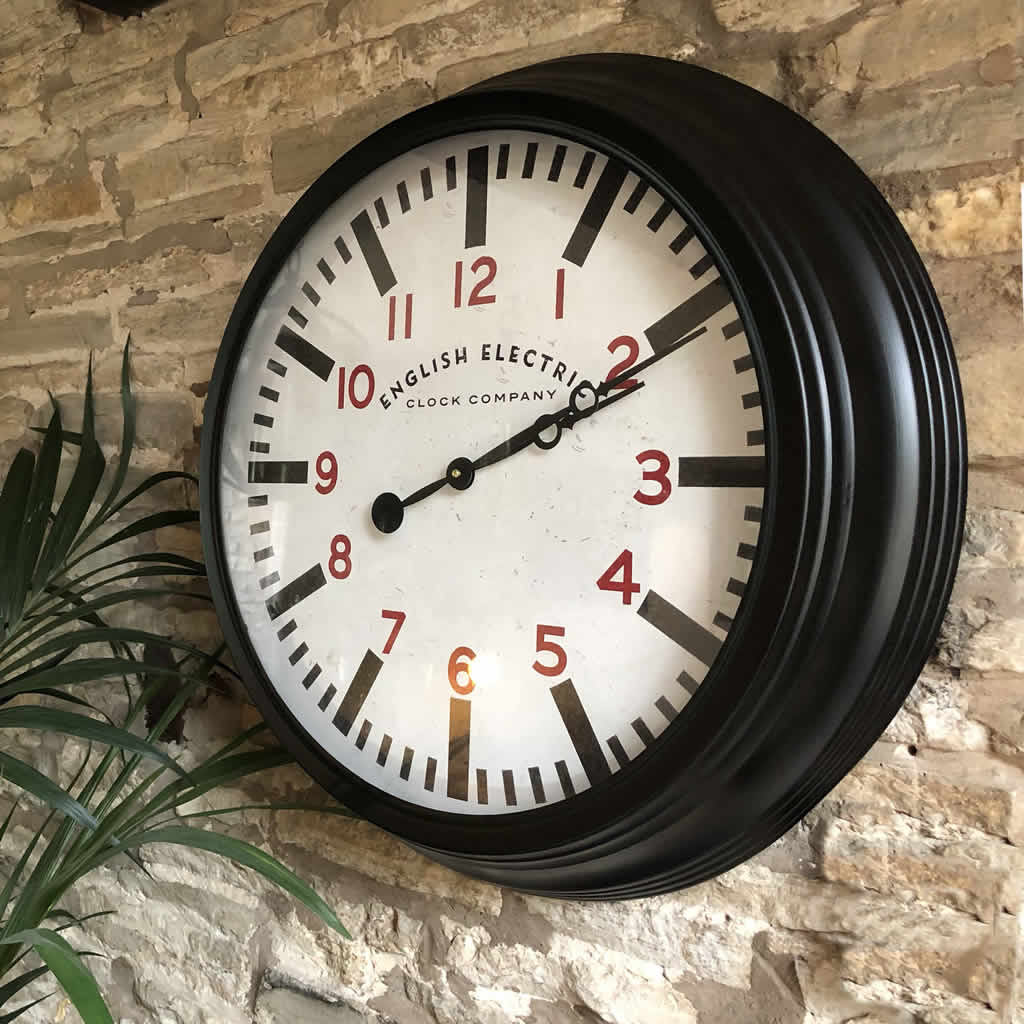 Round Black Metropolitan Distressed Metal Wall Clock With Red Numbers Cowshed Interiors