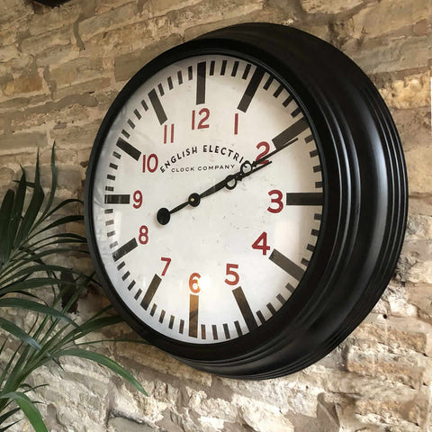Round Black Metropolitan Distressed Metal Wall Clock with Red Numbers - English Electric Clock Company