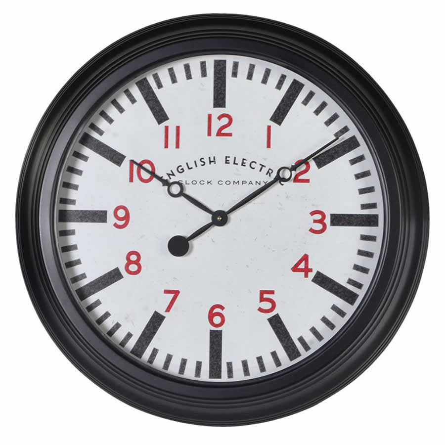 Round Black Metropolitan Distressed Metal Wall Clock