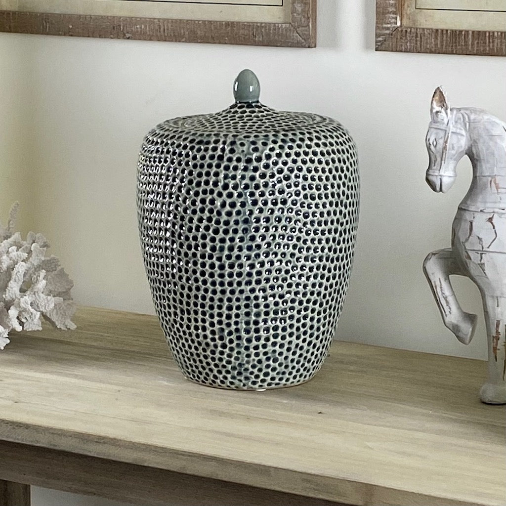 Striking Large Lidded Dimple Jar