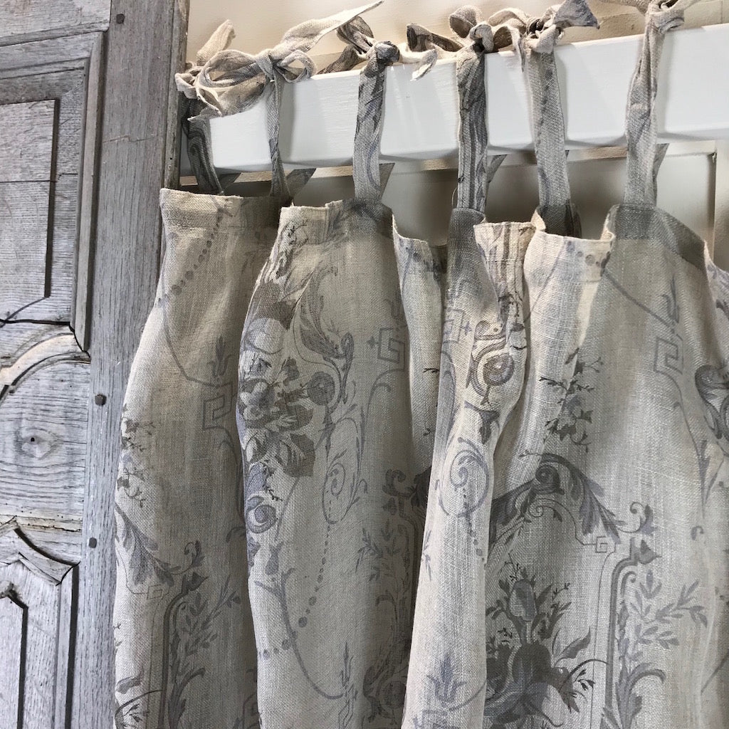 Long Tab Top Linen Curtain Panel Cowshed Interiors