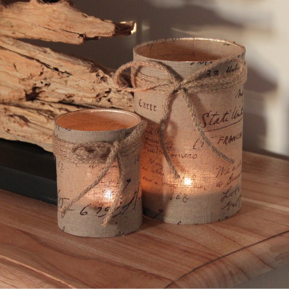 Hessian  Rustic T Light Holder String Bow