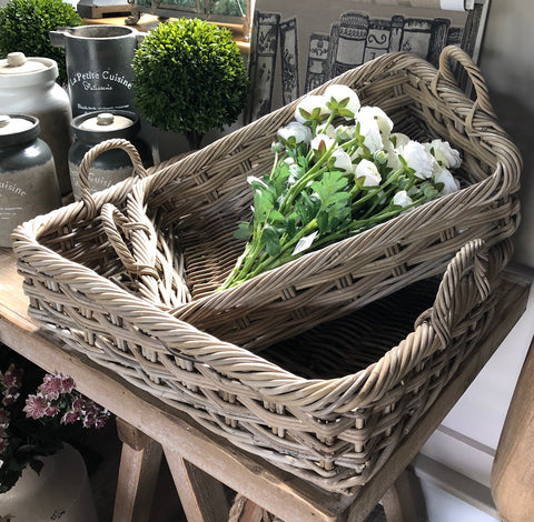 Wicker Woven Bakers Tray Storage Baskets Set 2