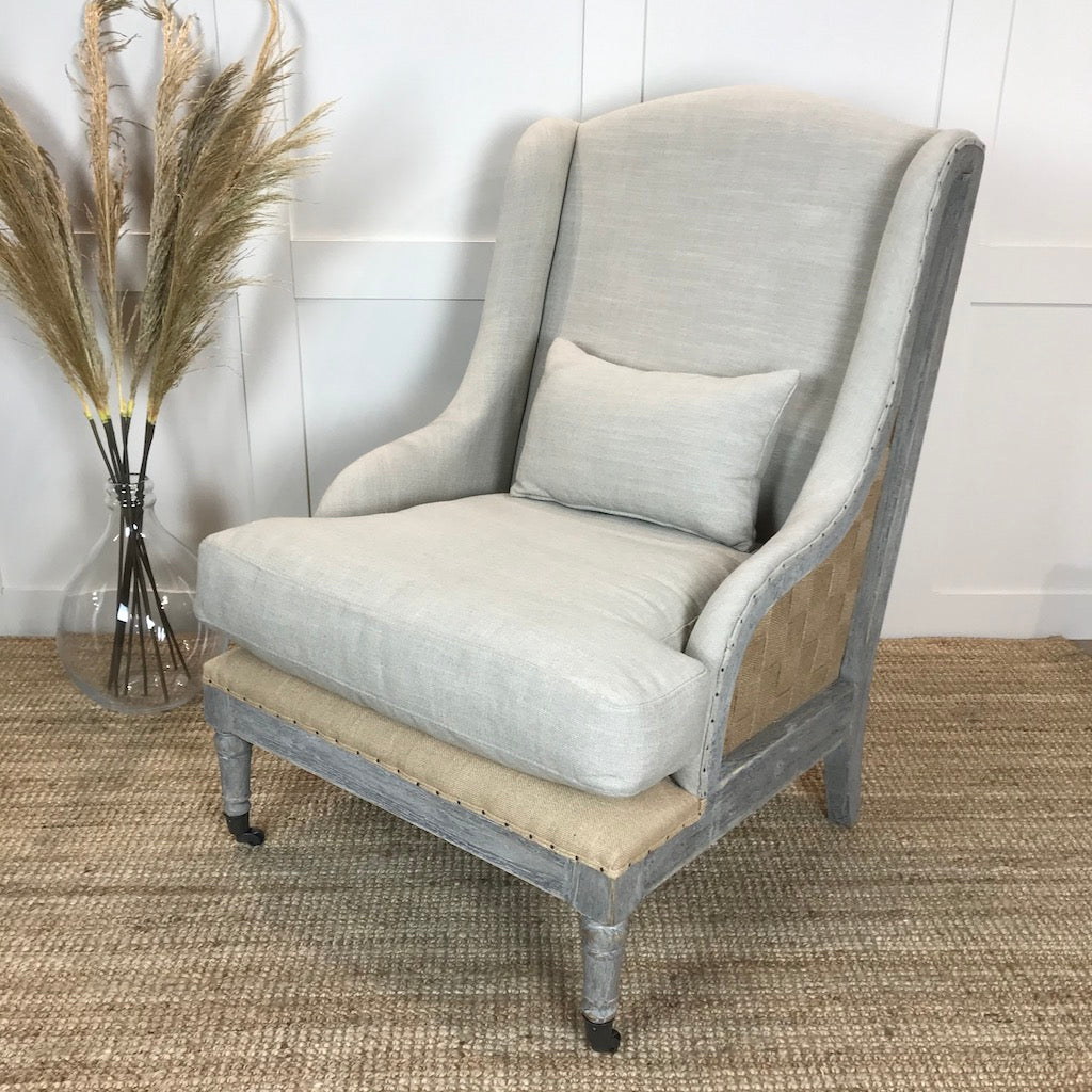 Gustavian Chair Taupe Fabric Open Webbed