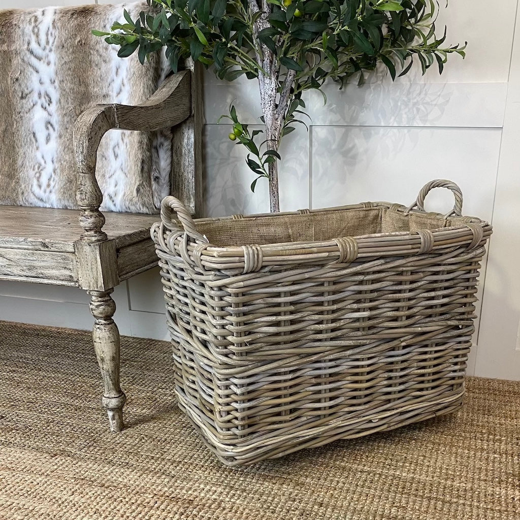 Extra Large Wicker Rectangle Log Toy Baskets Wheels Handles Removable Hessian Liner