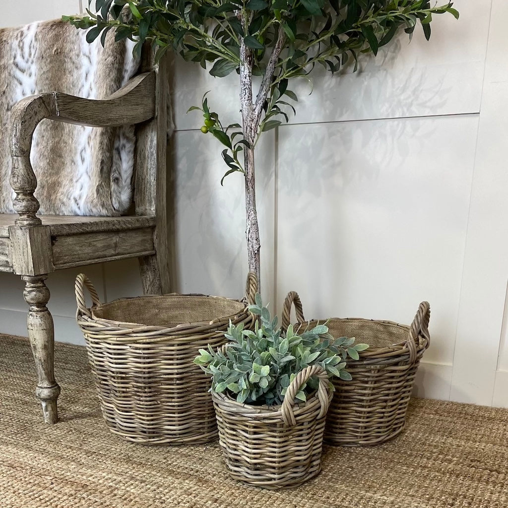 Round Wicker Baskets Handles Removable Hessian Liner Set 3