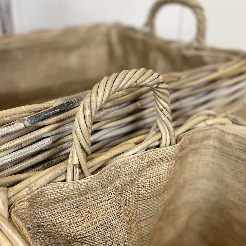Wicker Cross Weave Baskets Handles Hessian Liner Set 2