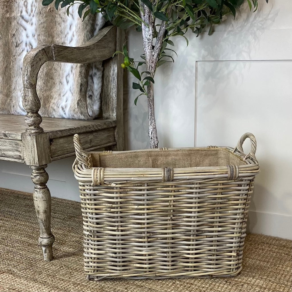 Large Rectangle Wicker Log Baskets Removable Hessian Liner