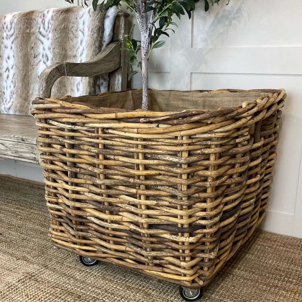 Extra Large Single Square Log Toy Basket Wheels Removable Hessian Liner