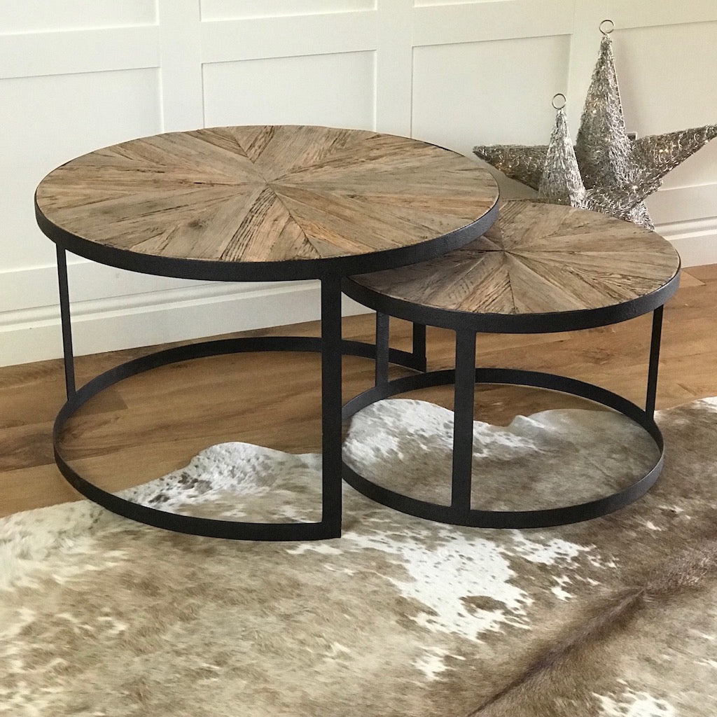Round Parquet Wood Metal Layering Tables Set 2