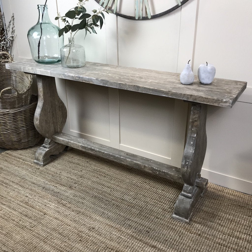 Harp Weathered Greige Console Hall Serving Table
