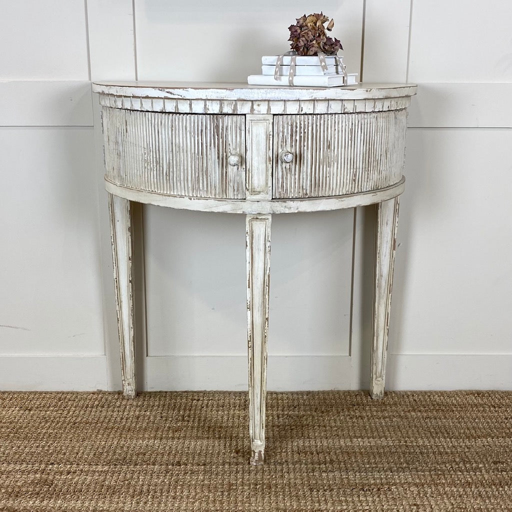 Gustavian Distressed Demi Lune Table