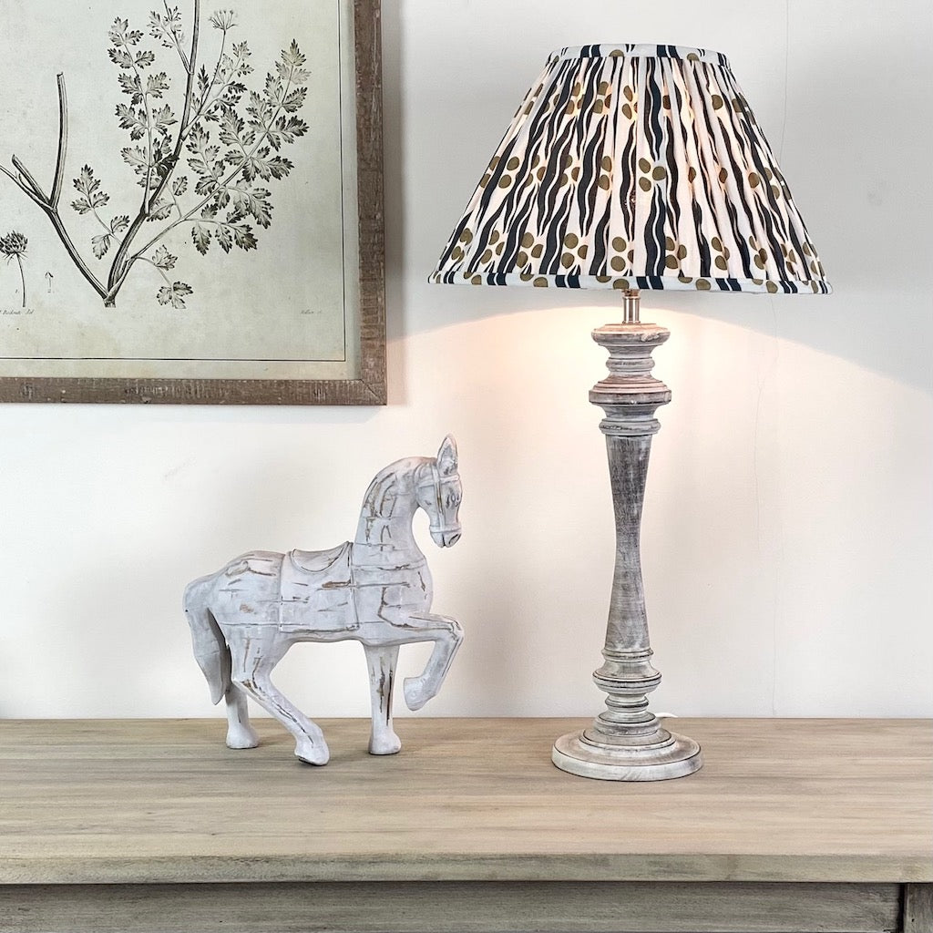 Tall Washed Wooden Table Lamp Ikat Shade