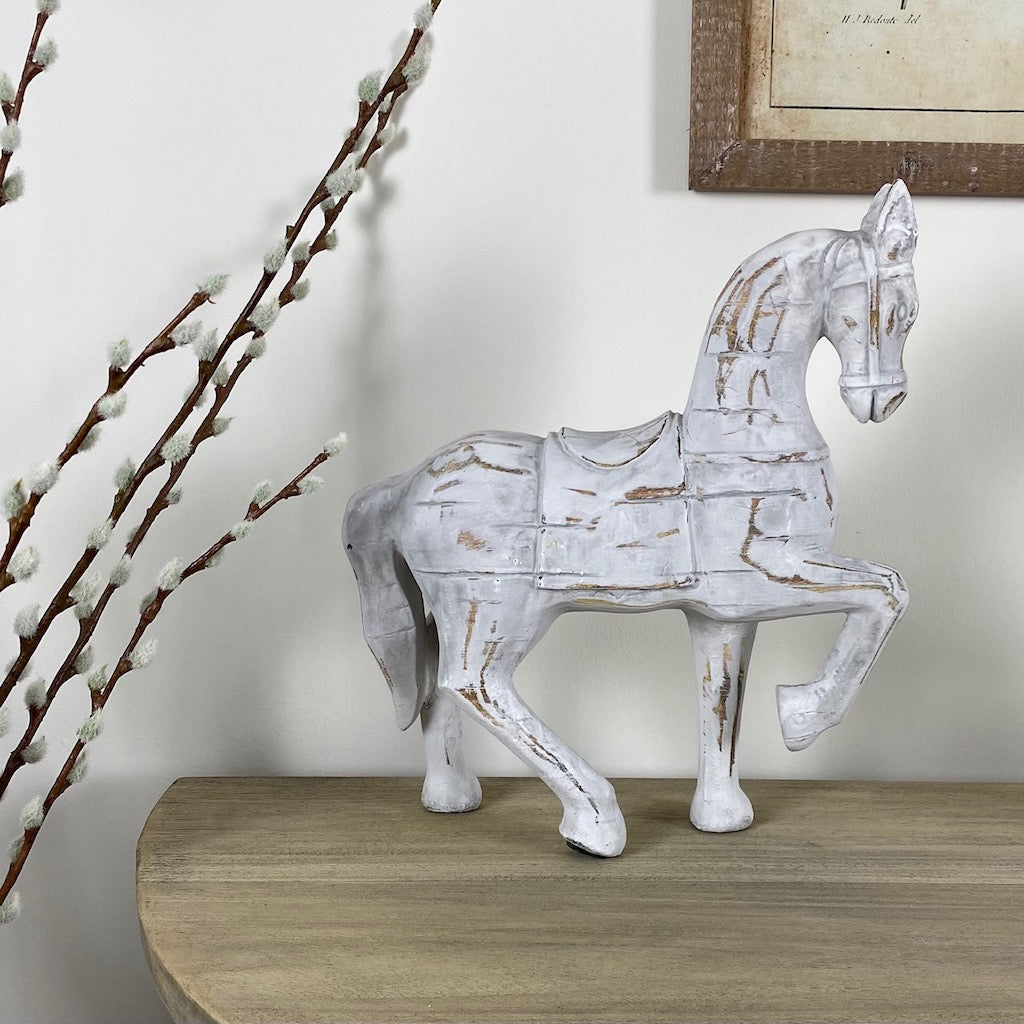 White Wood Effect Horse Ornament