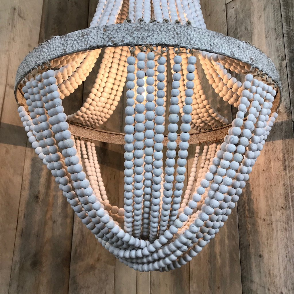 White Washed Tall Wooden Bead Chandelier Distressed Metal Detail Luna 2