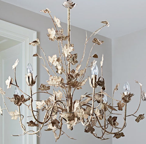 Distressed Bronze Leaf 6 Bulb Chandelier