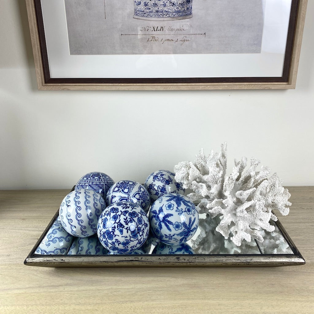 Chinoiserie Oriental Ceramic Spheres Set 6