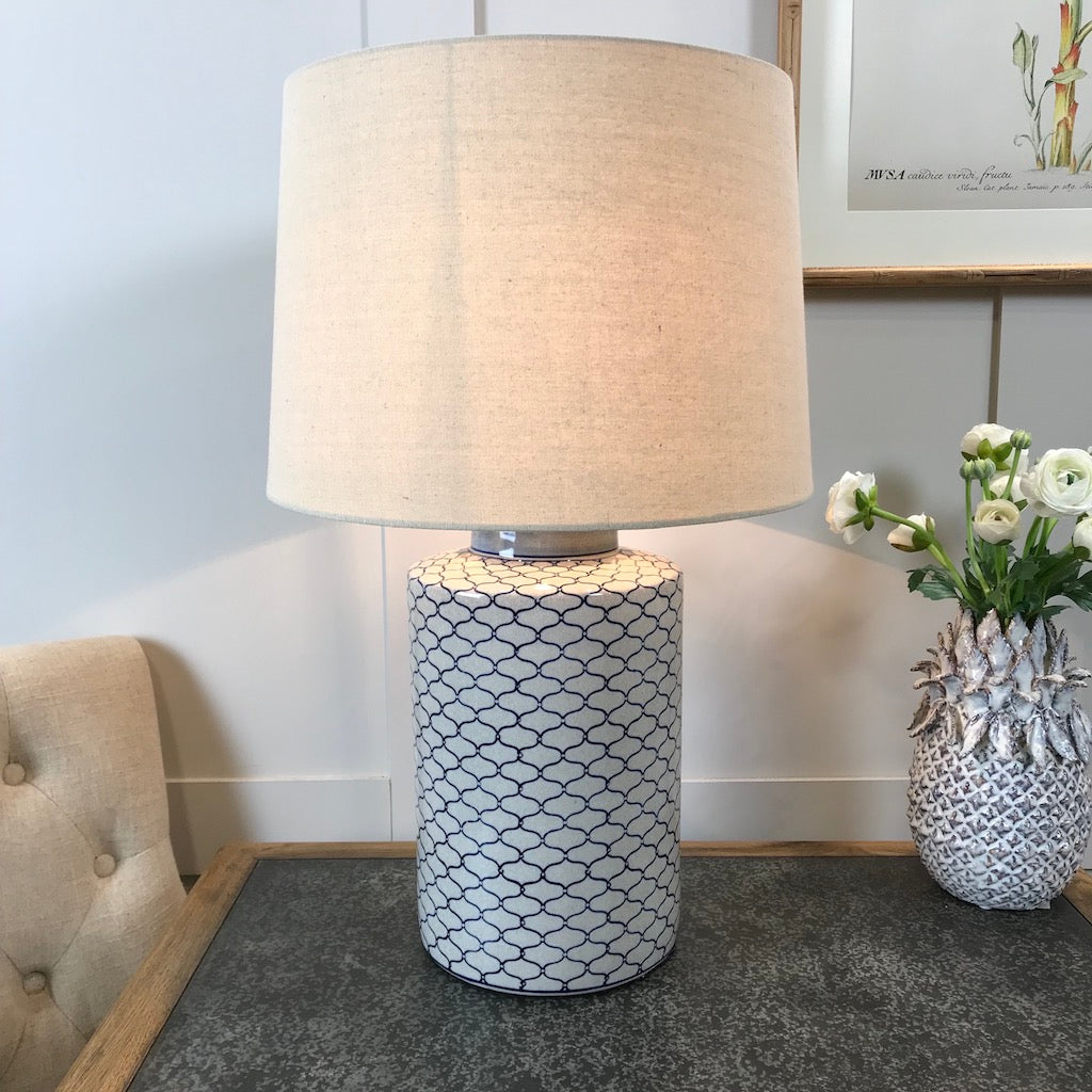 Blue and Stone Ikat Design Crackled Ceramic Lamp Base and Linen Shade