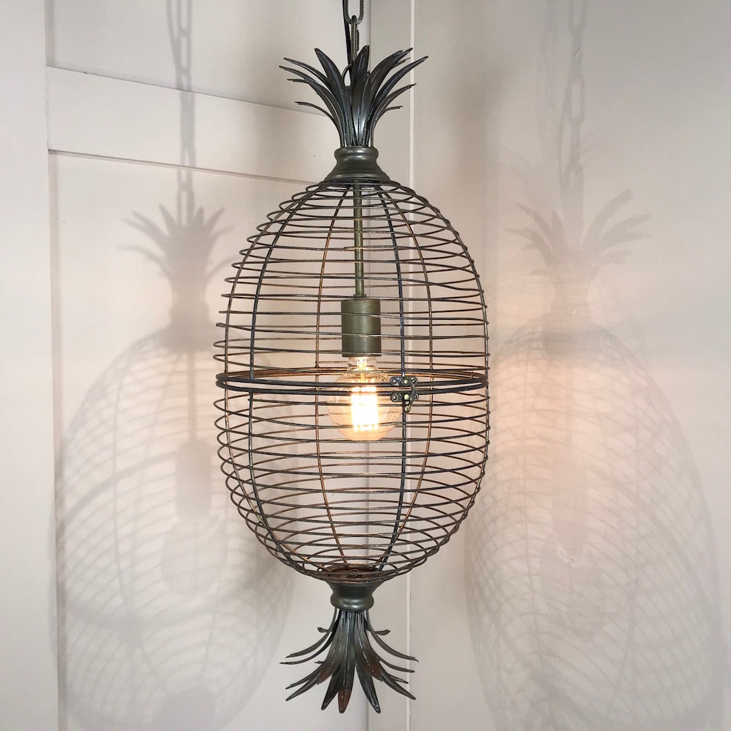 Pineapple Wire Cage Pendant Light Distressed Bronze