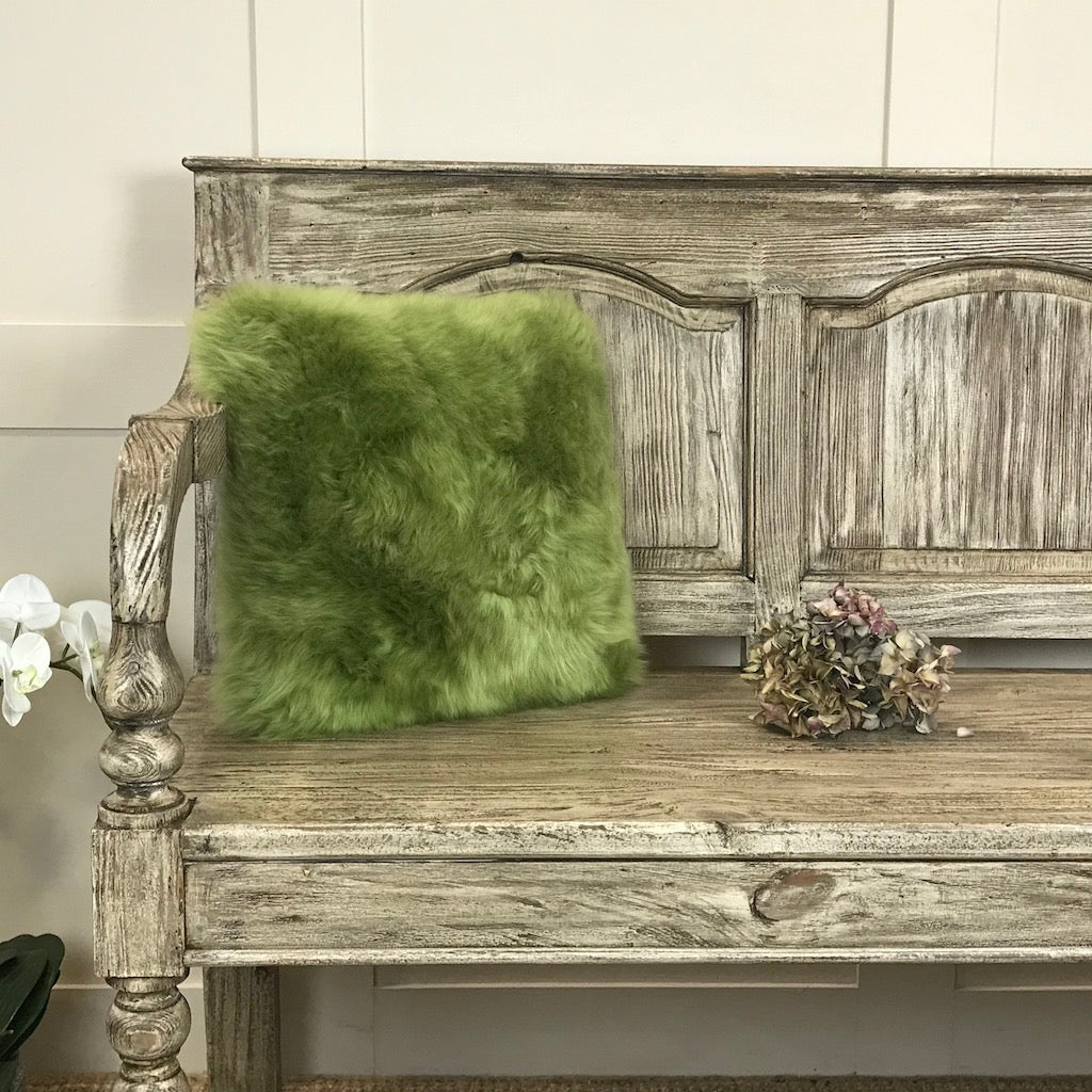 Luxury Square Sheepskin Cushion 35x35cm Treetop Green