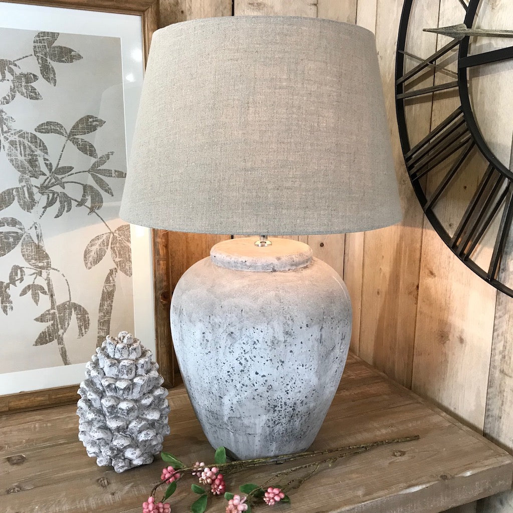 Large Distressed Grey Stone Effect Pinecone Ornament