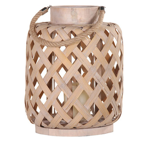 Distressed Natural Woven Lantern Medium