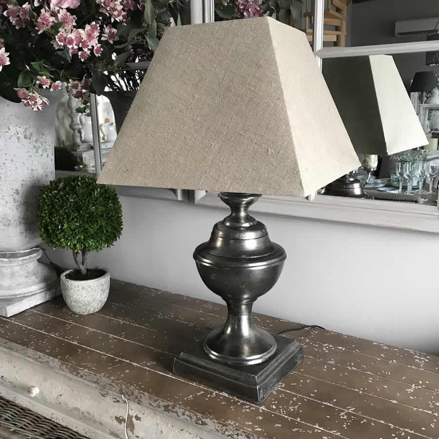 Clifton Hammered Nickel Urn Table Lamp Natural Shade