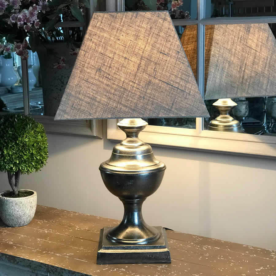 Hammered Nickel Urn Table Lamp Natural Shade - Clifton