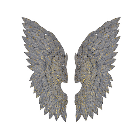 Feathered Metal Angel Wings Wall Art