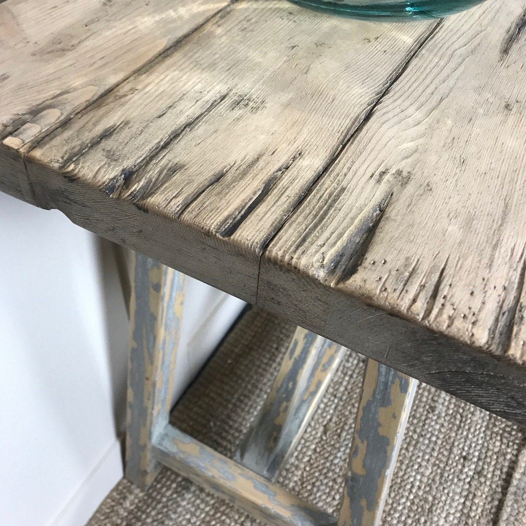 A Frame Trestle Console Table Pale Grey Teal Paint Distressed Effect