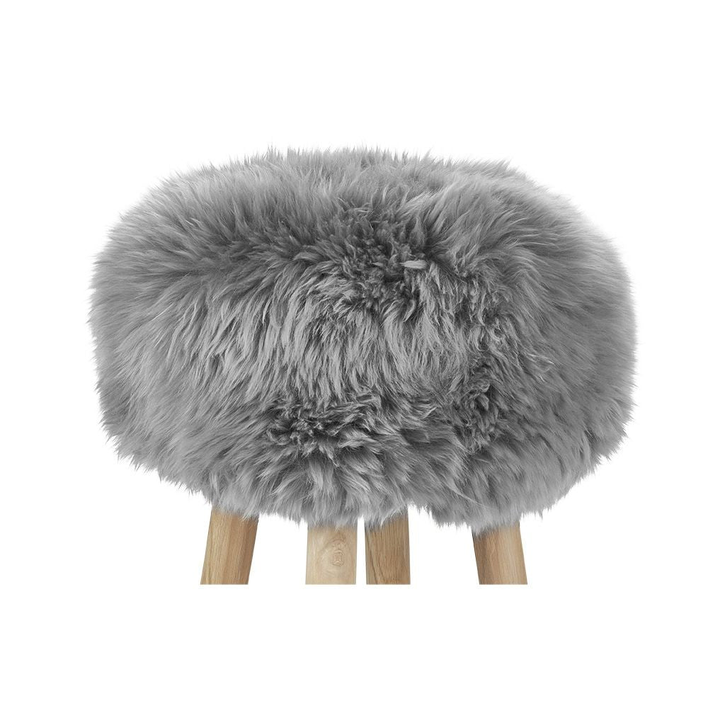 New Zealand Sheepskin Stool Light Grey