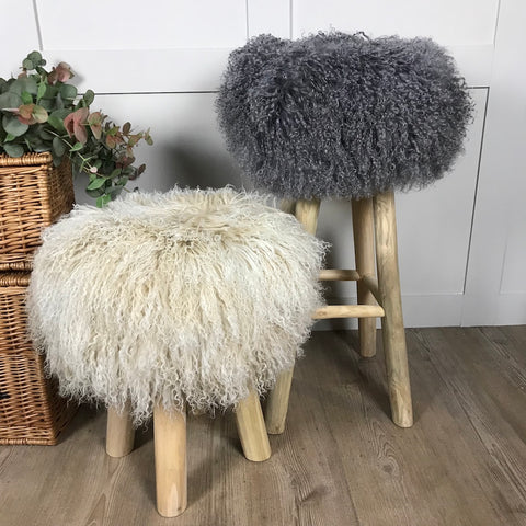 Rustic Stool with Tibetan Sheepskin Seat Cushion 2 Sizes 3 Colours