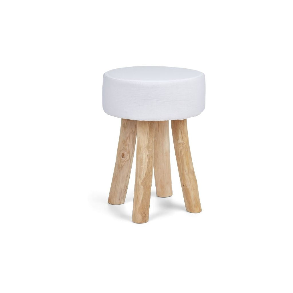 Rustic Stool with New Zealand Sheepskin Seat Cushion 2 Sizes 3 Colours