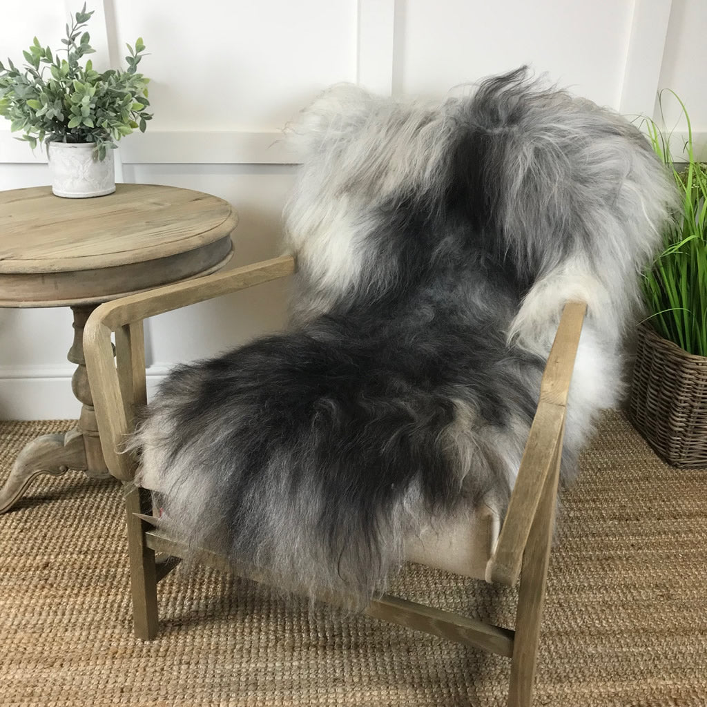 Finest Icelandic Natural Rare Breed Sheepskin - Natural Dark Grey with White Tones