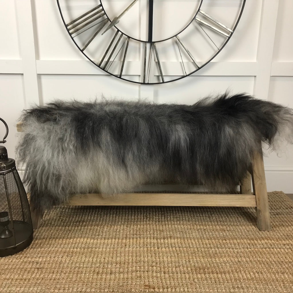 Finest Icelandic Natural Rare Breed Sheepskin Natural Dark Grey White Tones