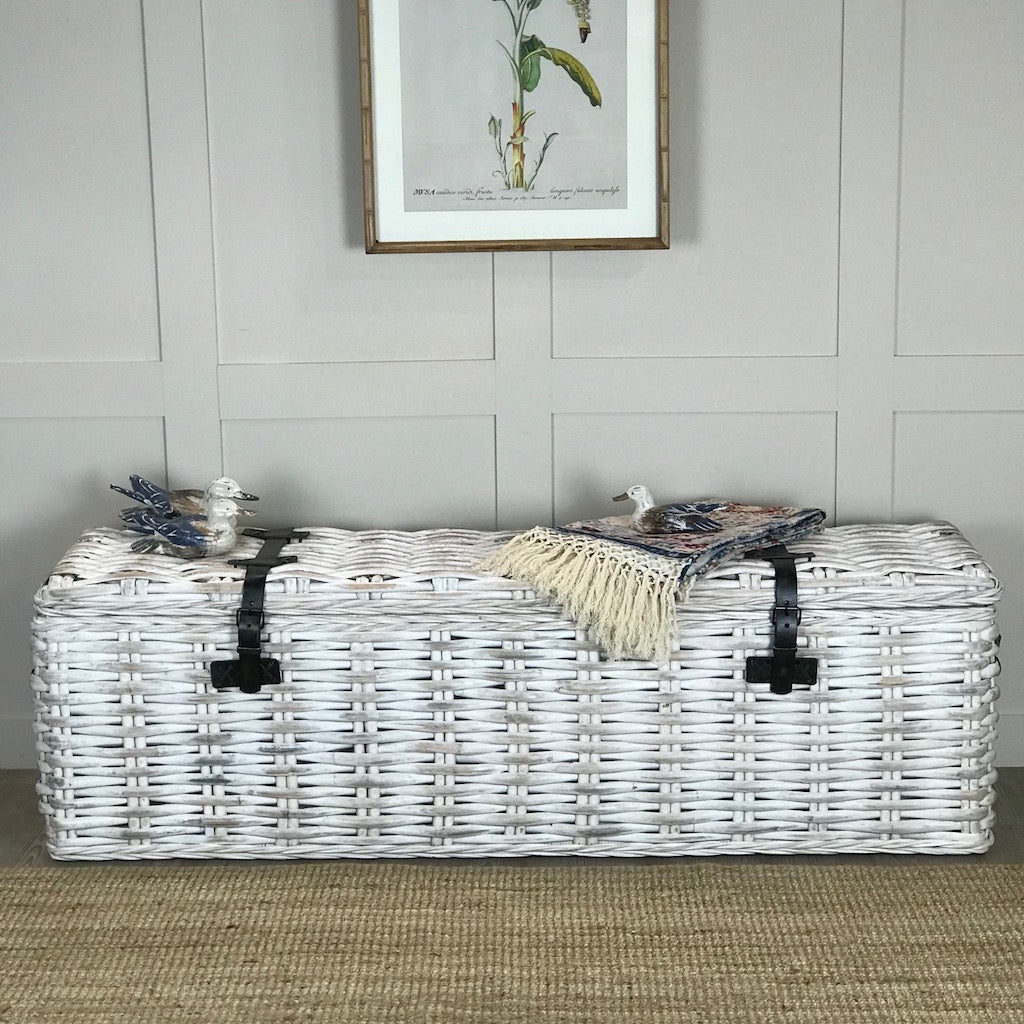 Handcrafted White Large Trunk Storage Bench Cowshed Interiors