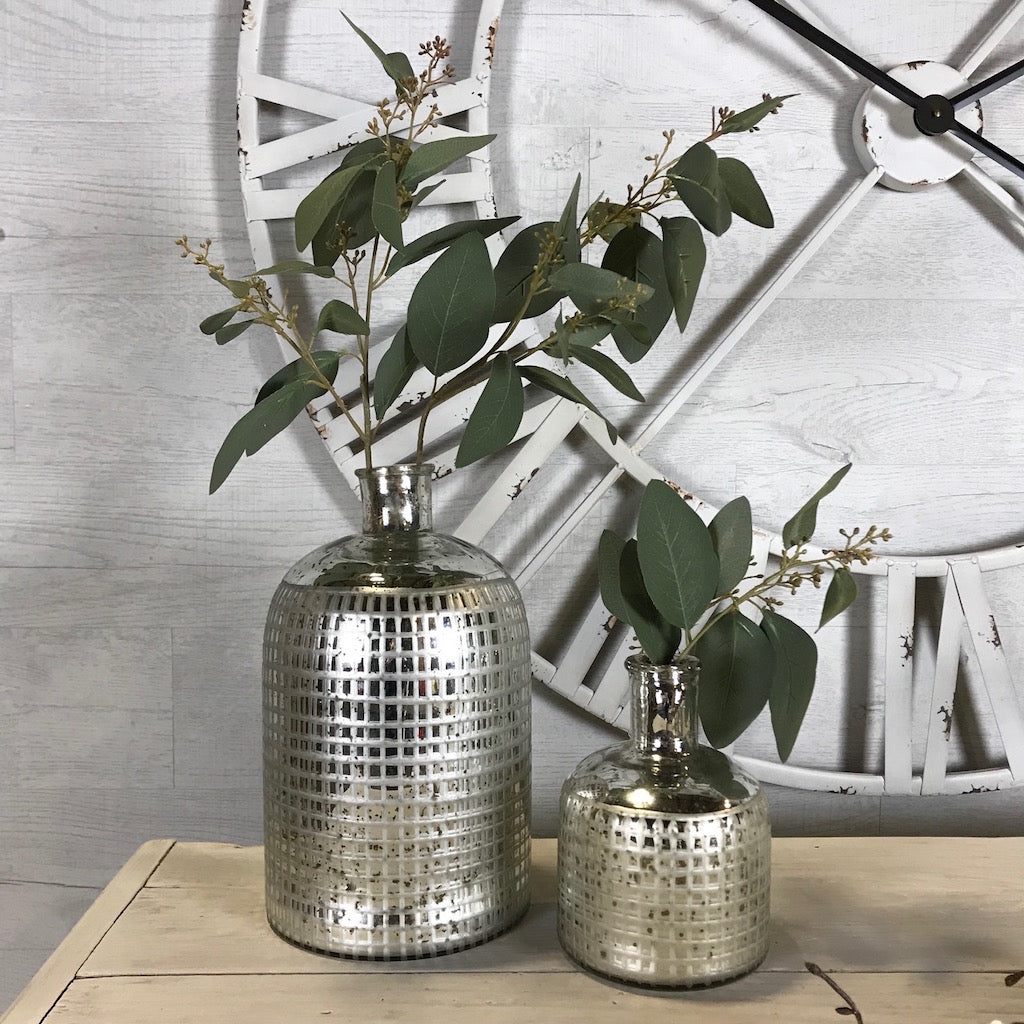 Mercury Silver Etched Bottle Vase Set 2