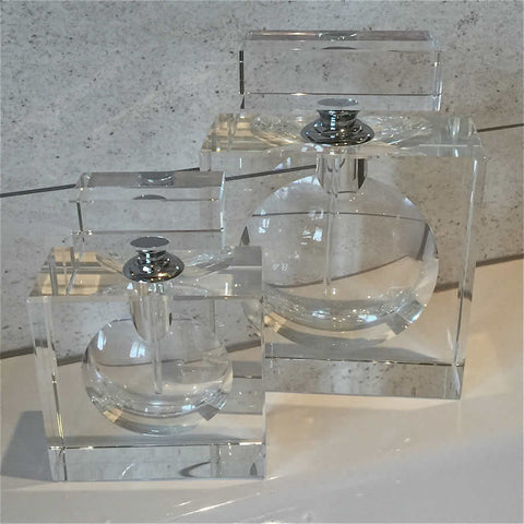 Flat Square Crystal Perfume Bottle - two sizes available