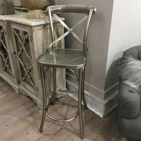 Distressed Cross Back Iron Bar Chair Stool
