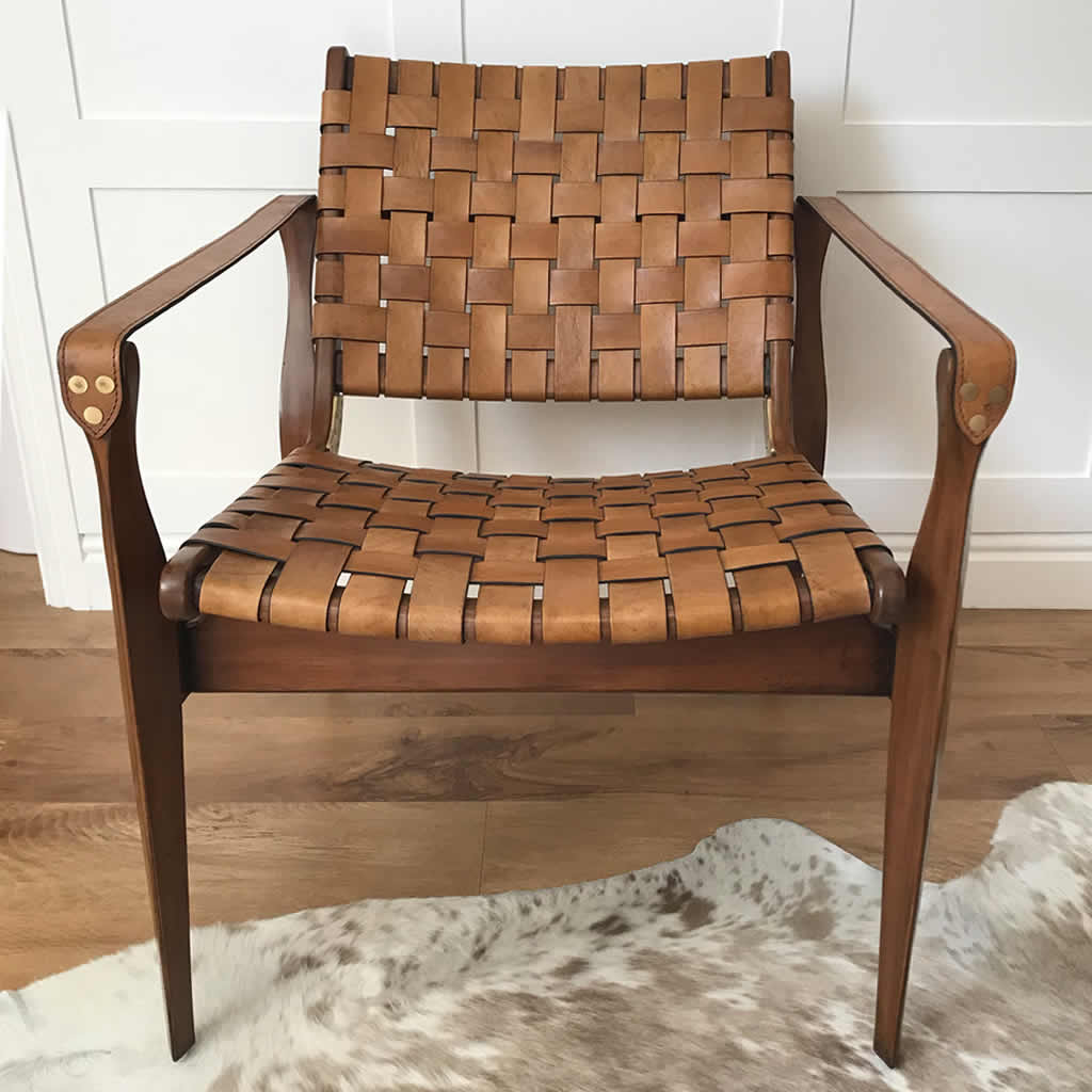 Woven Tan Leather Vegetal Design Armchair