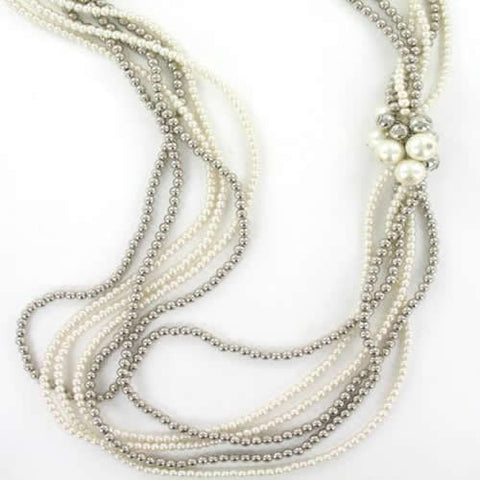 Long Multistrand White and Metallic Pearl Necklace