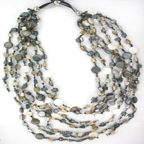 Pretty Blue and Taupe Shell Multi-strand Necklace